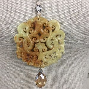 Jewelry - Carved Asian Style Medallion Necklace With Tassel